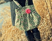 Large Green and Salmon Floral Handbag