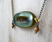 Grayed Jade Necklace - Teal Blue-Green Pendant - Metallic Bronze Czech Glass - Gift Box - Pantone Spring 2013 - MySelvagedLife