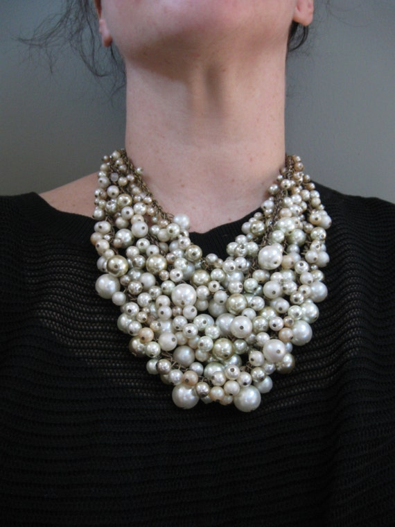 Pearl Bib Statement Necklace - Cream Ecru and Brass - Winter Bridal - Mermaid Farts