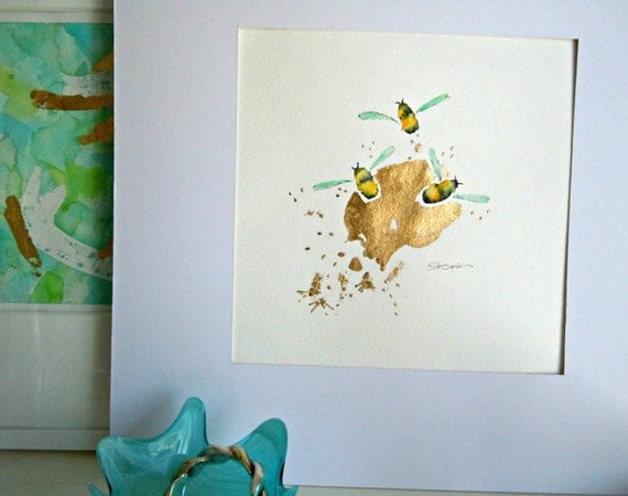 "Bee Watercolor Painting, Original, Fine Art, ""Flight of the Bumblebee No. 7"" - 12x12"