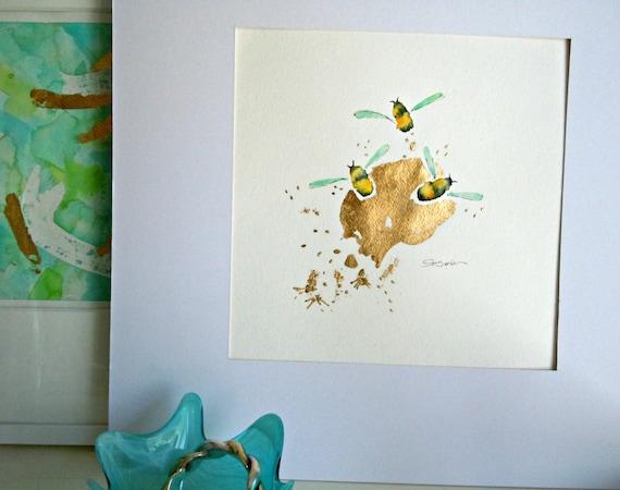 """Bee Watercolor Painting, Original, Fine Art, """"Flight of the Bumblebee No. 7"""" - 12x12"""