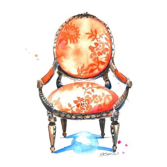 Orange Chair Art, Tangerine Wall Art, Tangerine Chair Print, 14x14