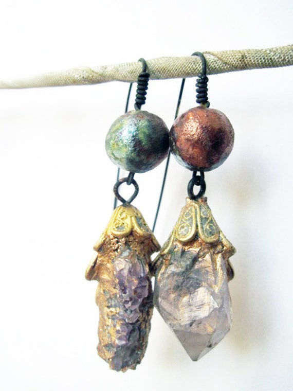 Exquisite Paradox. Cosmic Rustic asymmetrical earrings with rough amethyst and raku.
