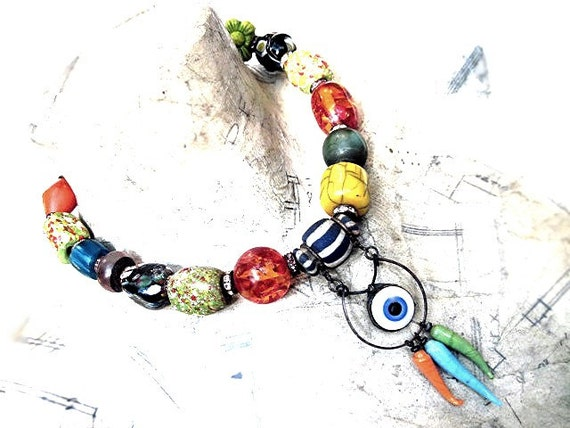 Evil Eye. Colorful Tribal Bollywood Choker.