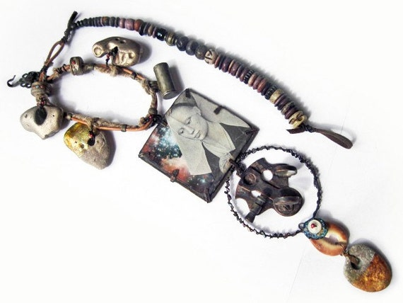 La Exploradora. Rustic sci fi assemblage statement necklace with sextant, cosmic gold leaf beach stones.
