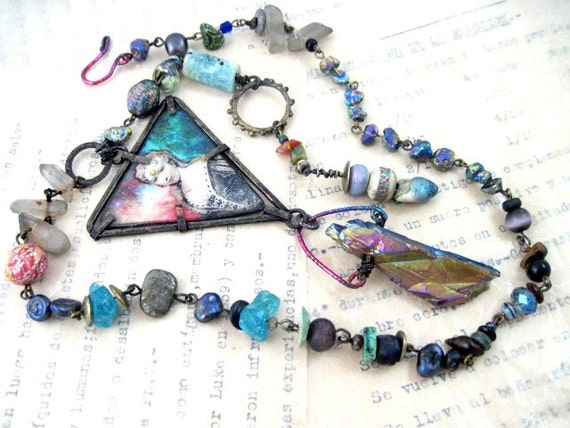 Our Lady of  Impossible Vastness. Cosmic assemblage statement necklace with rainbow titanium crystal and galaxy nebula.