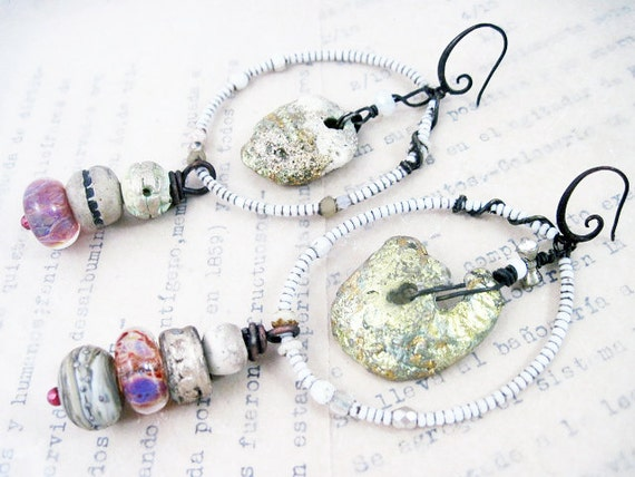Phantasmagoria. Rustic Gypsy beachy, victorian tribal ivory white bone lampwork assemblage earrings with gold leaf shell.