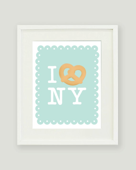 I Heart NY and Pretzels - 8x10 Print