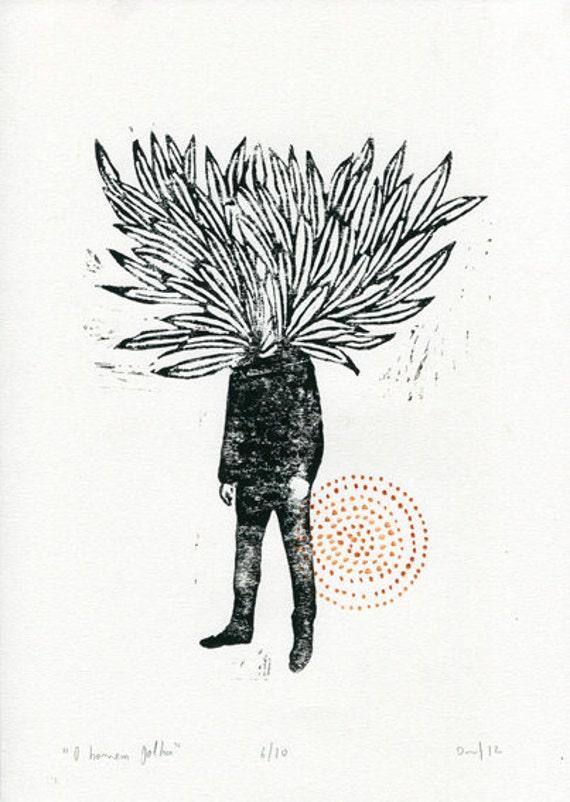 """""""O homem folha"""" - original Linoleum print (limited edition) by Daniel Moreira"""