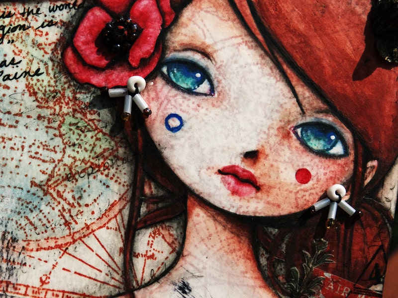 mixed media girl cute kawaii flower red poppy adorable painting drawing cold porcelain beads buttons faux postage stamp quote thomas paine my country is the world and my religion is to do good