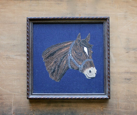 I Need a Horse - Vintage - Home Decor - Wall Hanging - Handmade - Horse - Equestrian - Blue - Country - Farm - Rustic