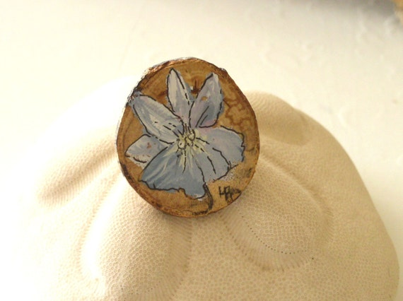 Woodland Violet Pin Painted Botanical Flower Made from Natural Wooden Beechwood