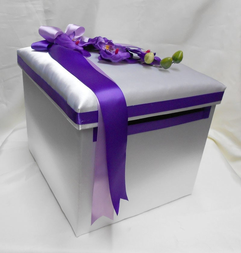 Wedding Gift Card Box Uk : Wedding Reception Orchid Gift Card Money Box Purple Lavender Your ...