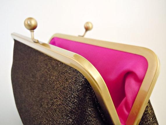 Gold Shimmer and Hot Pink Fuchsia Clutch Evening Bag Wedding Purse