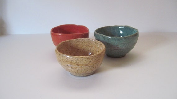 Pinched Stoneware Kitchen Prep Bowls Set of 3
