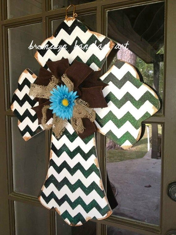 Black & White Chevron Cross Door Hanger - Bronwyn Hanahan Art