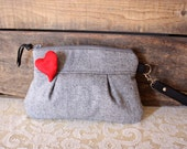 Pleated Valentine Wristlet/ Pouch/ Clutch// Wool / Grey & red colors with detachable heart pin--Ready to Ship-- - cindymars7