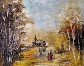 Old Church - Original Textured Oil painting - halinapl