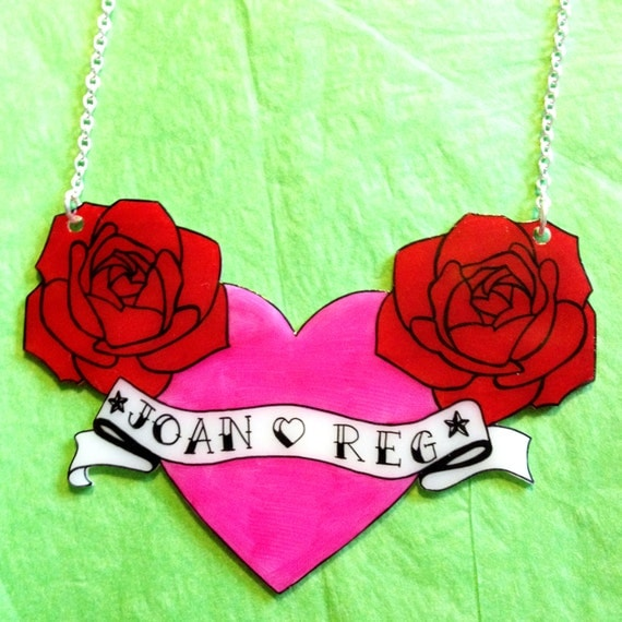 Heart With Rose And Banner: Personalised Name Banner Heart