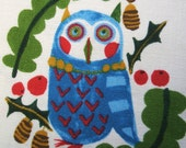 Kokka Emo Emo Owl Kamiya Kanako Japan Cotton Linen Canvas Fabric 1/2 Yd - AliceInStitchesArts