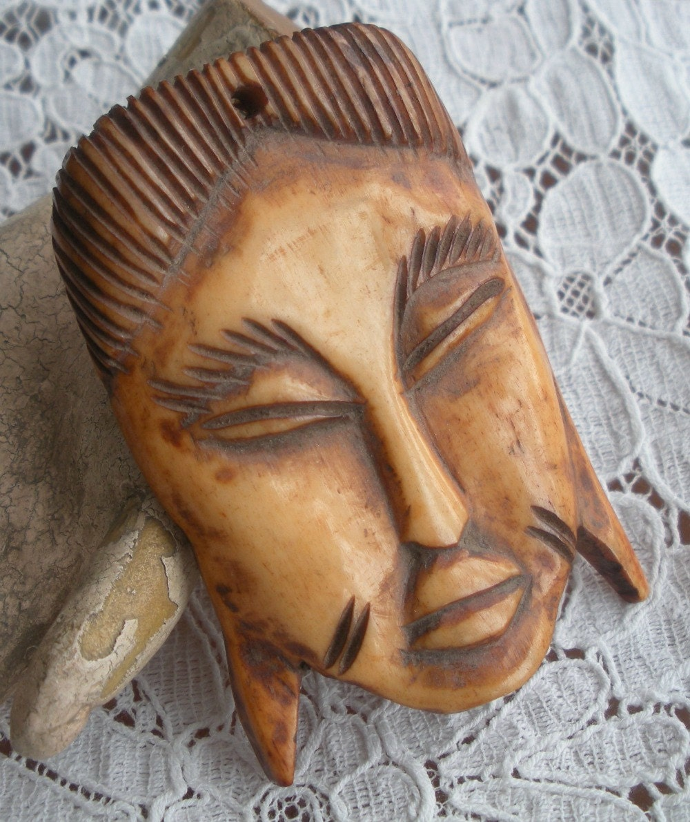 Carved Bone Mask Pendant Bead from Africa