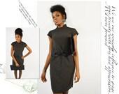 vintage womens authentic japanese 100% linen little black dress