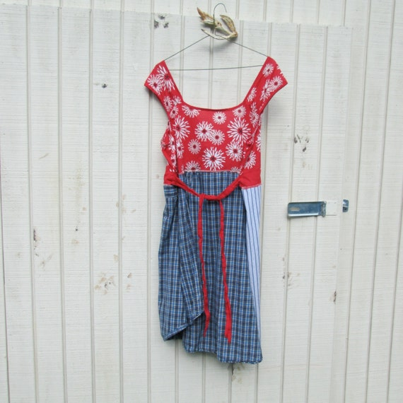 xlarge / xxlarge - upcycled clothing - Summer Dress Funky Day Dress / Eco Dress / Tattered Artsy Dress / Upcycled Clothing