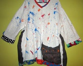 Oatmeal painted upcylced recycled cotton tunic fits large thru 3x
