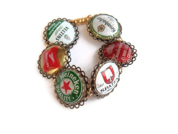 Beer Cheers and ale Yells bottle cap good spirits recycled bracelet kitsch wear