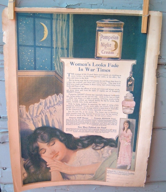 Beauty ads Pompeian Night Cream Vintage Advertisement  The Etude Magazine Mary Pickford