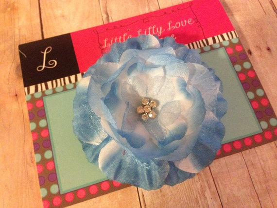 Flower Hair Clip, Blue Silk and Organza Layered Flower with Elegant Rhinestone Center Hair Clip - baby child toddler girl flower Clip
