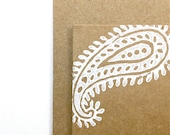 White Paisley Note Cards - Blank Gift Cards - Handmade -  Brown Kraft Card Stock - Old Indian Wood Block Print - Set of 5
