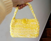 Bright Yellow Crochet Purse, Girly Girl Fun Fashion Handbag for Her, Designed and Handmade by NutmegCottage on Etsy