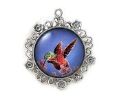 Hummingbird Round Silver Flowered Pendant - Free Shipping in Canada - FollowMyHeartStudio
