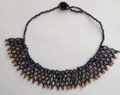 Peacock color beaded Necklace -Dark blue and gold necklace - Seed bead necklace