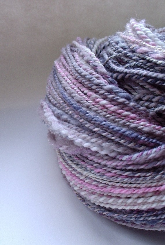 Handspun Yarn -  2 Ply - Pink Lady Writes Purple Prose  -  2 oz skein