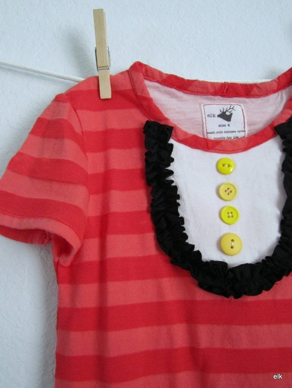 Girls Dress - Red Striped Mickey Minnie Inspired, READY TO SHIP (3m, 12m, 3T, 6, 8)