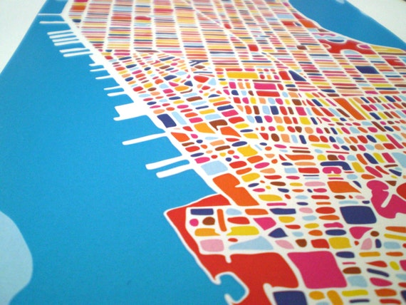Manhattan Map NYC richard E dalton Etsy Shop