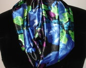 Woven Satin Floral Print INFINITY Scarf Handmade Cynsible Creations