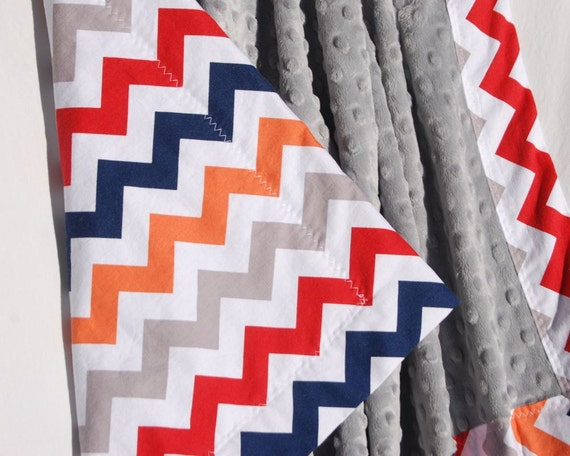Baby Boy Chevron Blanket with Light Gray Minky- Minky Baby Blanket -Stroller Size - Personalization Available