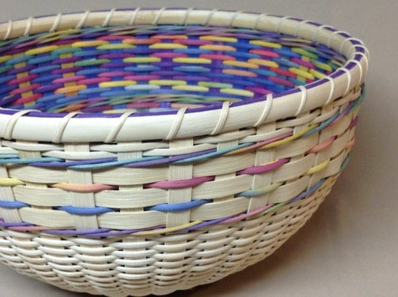 Hand Woven Round Bowl-Type Basket, Easter Basket, Double Wall, Paster Colors