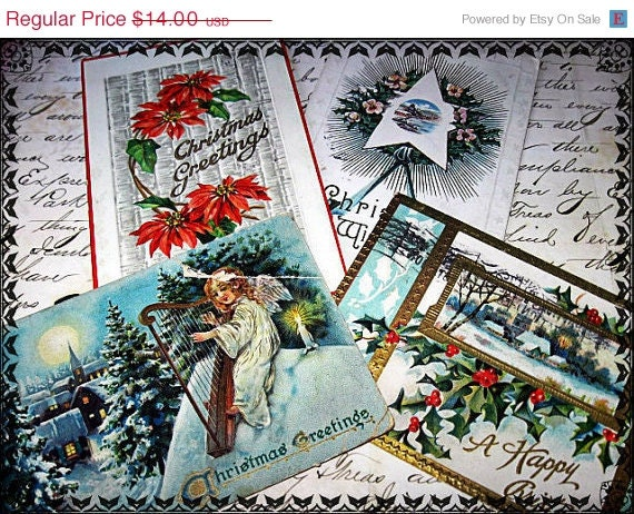Antique Christmas Postcards - Holly Xmas Greetings Vintage Embossed Paper Ephemera