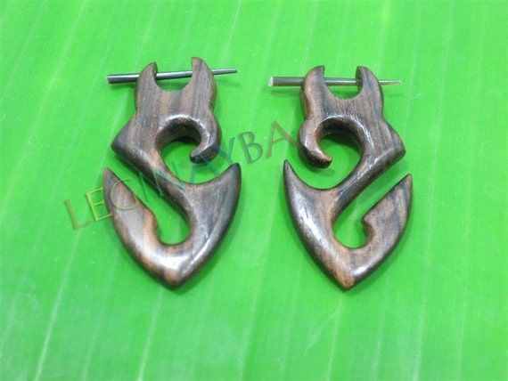 wood tribal earrings organic jewelry