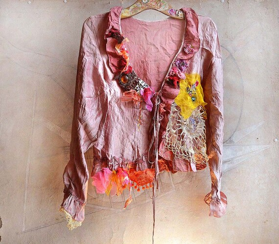 Unique Artistic Elegant Summer Lovely Wrinkled Jacket SUNFLOWERS VAN GOGH'S Boho Tribal Hippie Ethno Gipsy Country Antique