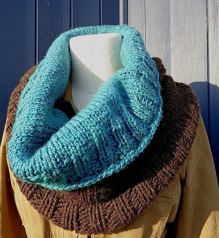 Cocoa Peacock Handknit Cowl or Shrug by Beach Girls Purls
