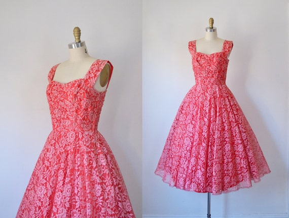 1950s Party Dress / 50s Red Lace Dress