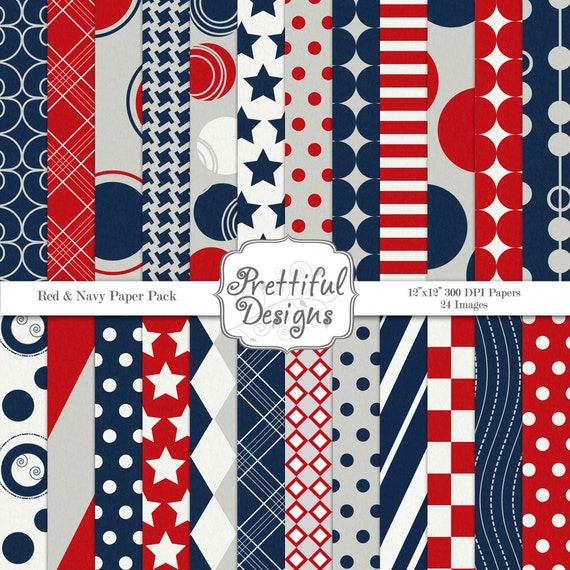25% Off Sale 4th of July Digital Paper Pack  - Personal and Commercial Use - Patriotic (629)