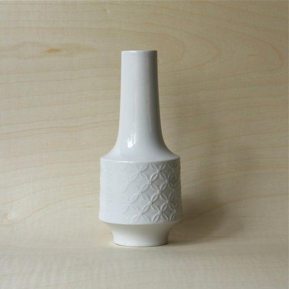 Vintage White and Glossy Matte Porcelain Vase German Vase by Mitterteich