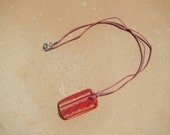 Red and Pink Glass Long Pendant Necklace