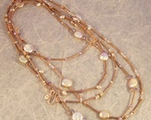 CopperTube Pink Coin Pearl - Multi strand Necklace Set